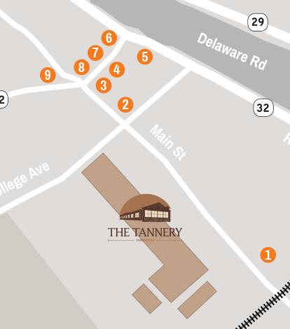 Map displaying restaurants near The Tannery.